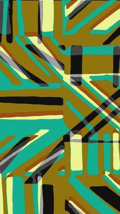 Painted and digital khaki and blue stripe pattern - Sarah Bagshaw