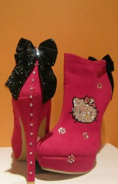 Hello Kitty HIgh Heel Booties by JAYBLINGS on Etsy, $120.00