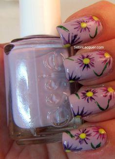 Easy purple flower nail art. #flower #nail #art #designs #ideas #floral #purple #DIY