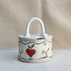 Bahia Art:  Handmade sugar bowl with lid.  Handpainted with clear glaze.