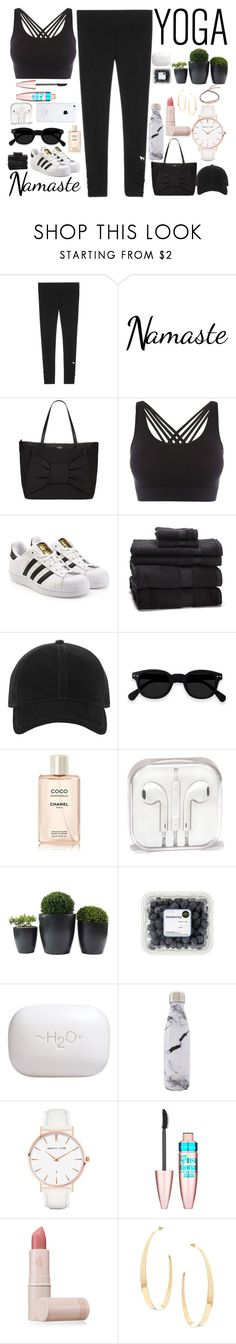"""""""Namaste: What to Wear to Yoga"""" by basmahahmed ❤ liked on Polyvore featuring Victoria's Secret, Kate Spade, Pepper & Mayne, adidas Originals, rag & bone, H2O+, West Elm, Abbott Lyon, Maybelline and Lipstick Queen"""