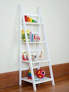 Ladder Shelf White or Black-ladder shelf mocka, storage bookcase, childrens furniture, ikea look, designer,    Idea for the nursery