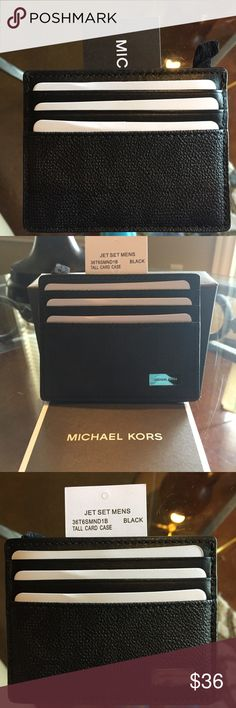 "Men's Michael Kors Jet Set Wallet Black or Brown These are the Black (or Dk. Brown) Initial Wallet (MK) with 6 card holders. There's also a center section to keep cash or business cards. Look at the pics, you'll see a little black ""tag"" that allows you to put a key ring on it IF you like. (The wallet does not come w a key ring.) As of today (12/02/17) I have 1 Dk. Brown and 2 Black one's left. I could possibly get more. They also have a ladies version, of course they cost a little more and…"