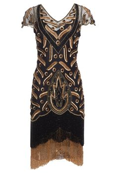 c758368c0393 Vegas Vintage Inspired Fringe Dress in Black Gold by Gatsbylady London