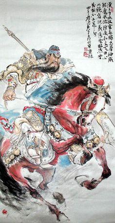 Chinese Drawings, Guan Yu, Classic Paintings, China Art, China Painting, Fantasy Warrior, Japanese Prints, Japan Art, Beauty Art