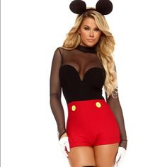Sexy Minnie Mouse costume size M/L Brand new. Medium/large. Comes with ears and gloves. Missguided Tops