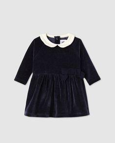 Vestido de bebé niña Petit Bateau en azul
