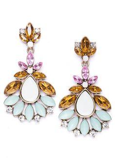Gemstone Splash Statement Earrings in Vintage Gold #fashion #multicolor #prettyearrings #statementearrings #earrings - 16,90  @happinessboutique,com