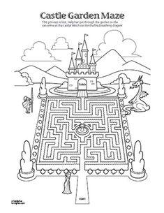Royal printable...maze with castle, knight, dragon? #disneyfamilyfun