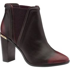 Ted Baker Thuryn Block Heel Ankle Boots, Dark Red Leather (16.825 RUB) via Polyvore featuring shoes, boots, ankle booties, flat ankle booties, chelsea boots, bootie, high heel boots и pointed toe booties