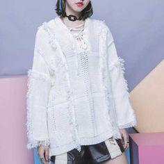 Fashion fringe sweater side slit lace up sweaters for girls