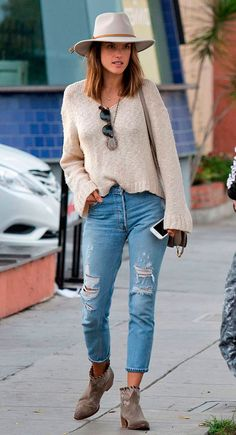 Alessandra Ambrósio pairs a felt hat with a simple everyday look.
