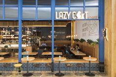 "Design inspiration comes from the name ""Lazy Cat "". Creating a space for all cat lovers and local community to enjoy quality coffee and place to share laughter and stories. #interior #design #retaildesign #retail #hospitality #timber #cafe #architecture #designer #tiles  #shop #cat #lighting #counter #signage #graphicdesign #graphics"
