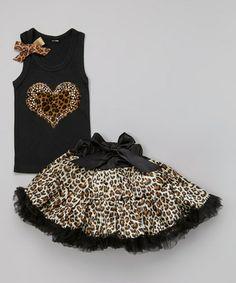 Black Leopard Heart Tank & Pettiskirt - Infant, Toddler & Girls #zulily #zulilyfinds