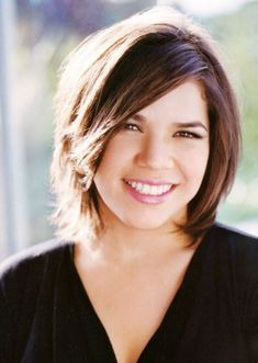 Top 60 Flattering Hairstyles for Round Faces - - America Ferrera bob hairstyle for overweight women Medium Hair Cuts, Short Hair Cuts, Medium Hair Styles, Short Hair Styles, Pixie Cuts, Girls Short Haircuts, Short Hairstyles For Women, Bob Hairstyles, Pixie Haircuts