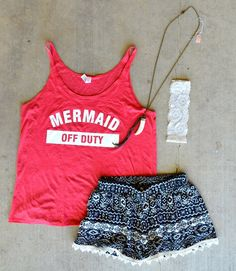 Do you dream of the sea, perfect beachy waves, and glittering turquoise and gold? Our Mermaid Off Duty Tank ($19.95) is perfect for you! Pair with any of our shorts, or wear as a coverup over your favorite bikini!