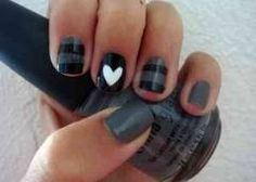 Pintrest: @Loveamarie88 >> gray and black nails with a white heart on ring finger!