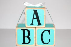 Tiffany and Co Baby Shower  Wooden Baby Blocks  by Booksonblocks