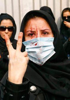 V for Victory. Tehran, Iran December 27, 2009