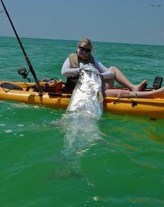 Tarpon fishing from a kayak - which weighs more the tarpon or the kayak? Tarpon fishing from Fishing 101, Deep Sea Fishing, Fishing Girls, Fishing Life, Gone Fishing, Best Fishing, Trout Fishing, Kayak Fishing, Fishing Tricks