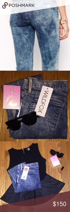 """Wildfox """"The Marianne"""" Skinny Jeans PLUS FREE GIFT Brand new with tags, stylish, chic and on trend jeans! Fit Name: Super Skinny Magic Trick Wash Name: Acid Rain (Blue) Very stretchy and size 31. Bundle and Save! ✨✨✨FREE GIFT WITH PURCHASE! ✨✨✨ Wildfox Jeans Skinny"""