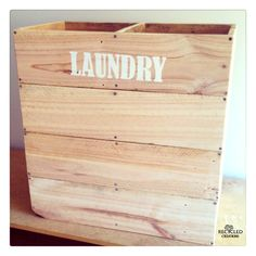 pallet laundry basket with stencil - for more pallet ideas check out https://www.facebook.com/recycled.creations100