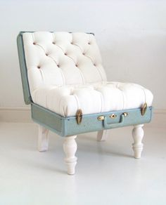 vintage luggage reincarnated as an equally beautiful chair