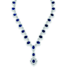 White Gold Gold Blue Sapphire and Diamond Necklace - 18 Kt #White #Gold #Blue #Sapphire and #Diamond #Necklace