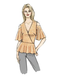 Vogue Patterns, Dress Patterns, Capelet, Flutter Sleeve Top, Simplicity Sewing Patterns, Top Pattern, V Neck Tops, Extra Fabric, Trending Outfits