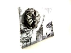 Gray Clutch Purse with Giraffes and Gray Satin by TrampLeeDesigns, $16.00