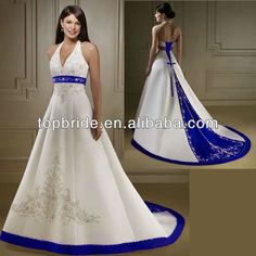 S1366 Real Designer Luxury Train Royal Blue And White Wedding Dresses Royal blue wedding dresses timeless designruffle
