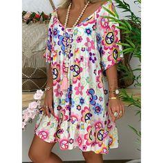 FloryDay / New Year Sale Casual Floral Tunic V-Neckline Shift Dress Cheap Summer Dresses, Dresses For Teens, Cute Dresses, Casual Dresses, Dresses Online, Floryday Dresses, Mini Dresses, Party Dresses, Wedding Dresses