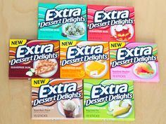 Can sugar-free gum really taste like Rainbow Sherbet or Apple Pie? We tried every flavor of Extra's Dessert Delight gum to find out. Extra Gum Flavors, Oreo, Sugar Free Gum, Rainbow Sherbet, Mint Chocolate Chips, Chocolate Gum, Chocolate Brands, Bubble Gum, Junk Food