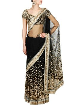 Sarees, Sarees, Clothing, Carma, Black and gold cutdana and sequins embroidered lehenga saree Indian Bridal Wear, Indian Wedding Outfits, Indian Outfits, Indian Clothes, India Fashion Week, Fashion Week 2015, Indian Attire, Indian Ethnic Wear, Sabyasachi Bridal Collection