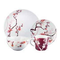 Paul Timman Cherry Ink 4-Piece Set - Bring the natural elegance of cherry blossoms to your home.  One of our favorite pieces!