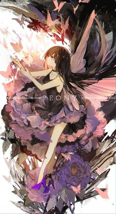 The purple flower blooms Manga Girl, Manga Anime, Anime Art Girl, Anime Girls, Pixiv Fantasia, Anime Lindo, Image Manga, Estilo Anime, Fan Art