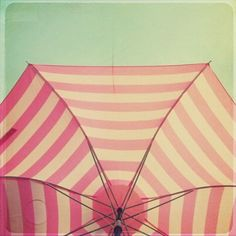 Pink And White Umbrella Print By Simply Hue