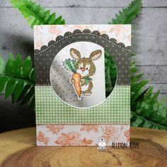 """Spinning Bunny Card by Allison Cope featuring the """"Bunny with Carrot"""" digi stamp by Gerda Steiner Designs Dinosaur Cards, Spinner Card, Sending Hugs, Happy Thursday, Cute Bunny, Digital Stamps, Baby Cards, Pattern Paper, Pin Cushions"""