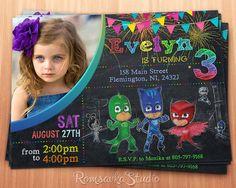 Pj Masks Invitation, Pj Masks, Pj Masks Party, Pj Masks Birthday, Connor, Amaya…