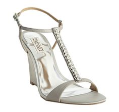 Badgley Mischka silver metallic satin 'Deidra' jeweled t-strap wedge sandal