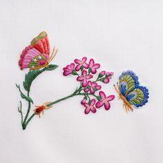Butterflies & FlowersHand Towel - White Cotton – Henry Handwork