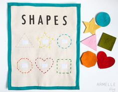 shapes quiet book page . shapes on the page are hand embroidered. The cut out shapes are from felt Quiet Time Activities, Craft Activities For Kids, Toddler Activities, Science Crafts, Diy Quiet Books, Felt Books, Sewing Crafts, Sewing Projects, Timmy Time
