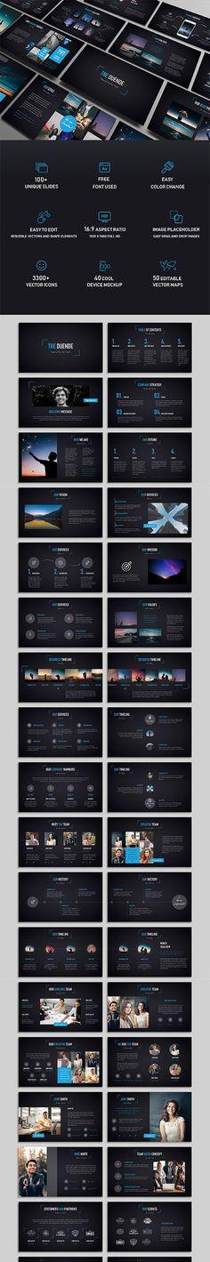Duende Dark Powerpoint Template PPTX Creative Design, Web Design, Photoshop, Templates, Dark, Designers, Graphics, Unique, Free