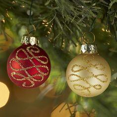 Mini Glass Ornament Set - Red & Gold Swirl
