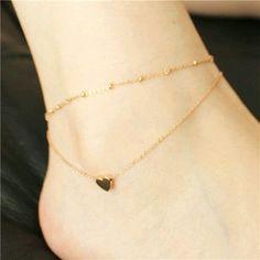 Heart Anklet Bracelet on a leg Gold Foot Chain Women Foot Jewelry 925 Anklet Bracelets On Foot For Women chaine cheville 2016 Ankle Jewelry, Cute Jewelry, Jewelry Accessories, Beach Accessories, Beach Jewelry, Jewelry Bracelets, Ankle Chain, Heart Chain, Anklet Bracelet