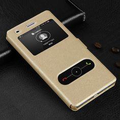 Funda de cuero para huawei p8 lite teléfono con vista de la ventana de alta calidad del caso del tirón protector accesorios de protección envío gratis