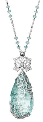 Cartier Biennale Necklace in platinum, featuring a 236.27ct aquamarine, one natural pearl, facetted aquamarine beads, baguette-cut and brilliant diamonds. PHOTO - Vincent Wulveryck © Cartier 2012.