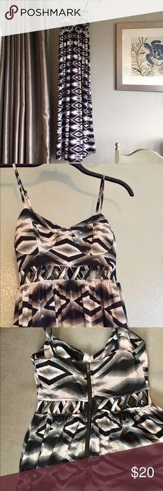 American Rag maxi dress Black/off white geometric print with waist cutout/bra detail. Zipper back. 95% polyester/5% spandex American Rag Dresses Maxi