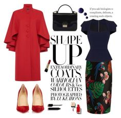 """Red Coat"" by missnidy on Polyvore featuring Valentino, Roland Mouret, Christian Louboutin, Furla, Rossella Jardini, Lancôme and Topshop"