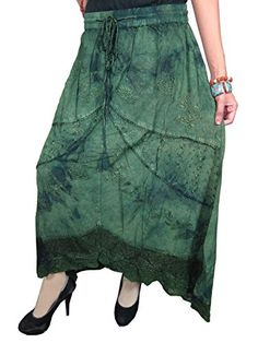 Long Skirts Green Embroidered Gypsy Boho Peasant Medieval Skirt (Waist: 34-40 inches.) Mogul Interior http://www.amazon.com/dp/B00Q2J8YLK/ref=cm_sw_r_pi_dp_ncXCub1FT2ZZY